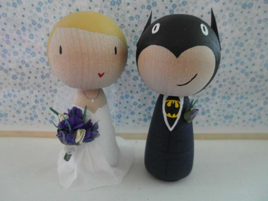 زفاف - Customised Super Hero Groom and Bride Wedding Cake Toppers - Hand painted wooden dolls.