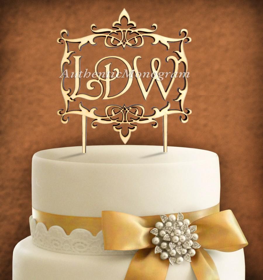 زفاف - 6inch Wooden Unpainted CAKE TOPPER Custom Framed MONOGRAM  Wedding, Initial, Celebration, Anniversary, Birthday, Special Occasion 4109