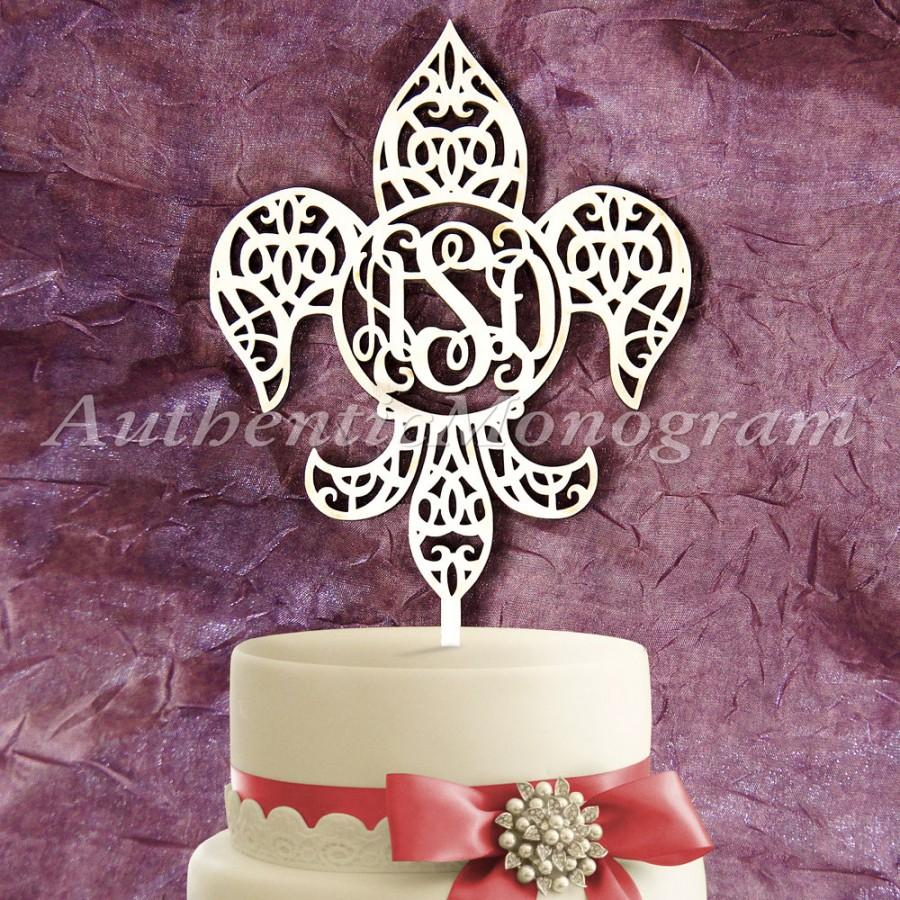 زفاف - Wooden Fleur De Li 3 letter Vine CAKE TOPPER, Wedding decor, Engagement, Anniversary, Celebration, Special Occasion, Birthday