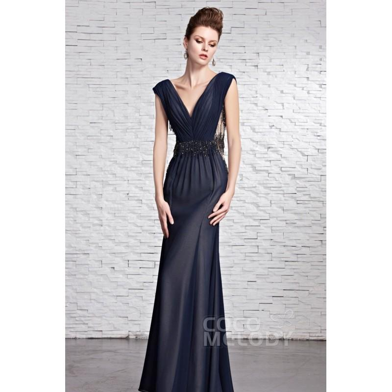 Wedding - Vintage Sheath-Column V-Neck Floor Length Chiffon Evening Dress with Beading and Draped COZF14046 - Top Designer Wedding Online-Shop