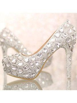 Wedding - Closed Toe Silver Crystal Wedding Shoes - 5