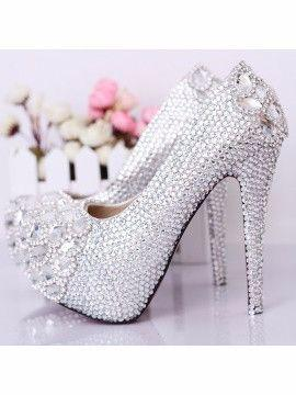 Wedding - Silver Crystal Wedding Shoes - 5.5