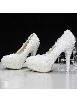 Boda - Lace Rhinestone Bead Round Toe Wedding Shoes - 5