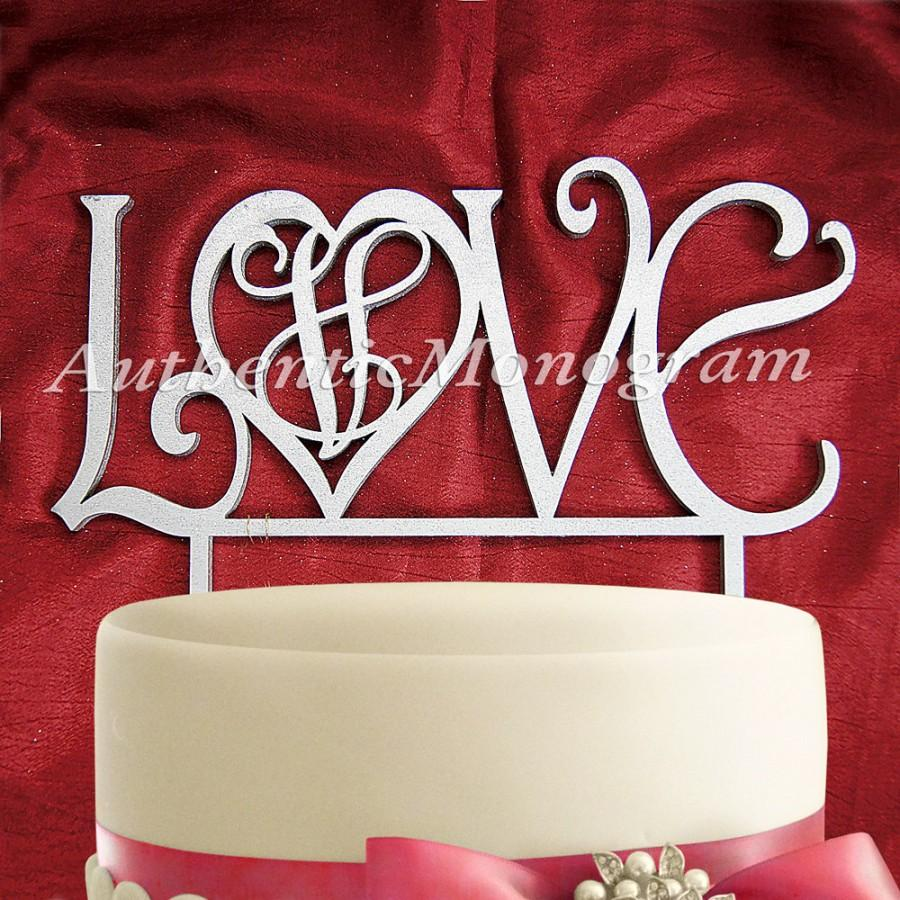 """زفاف - 6"""" """"Love"""" CAKE TOPPER Monogram, PAINTED, Wedding decor, Proposal, Engagement, Anniversary, Celebration, Special Occasion, Love 4208p"""