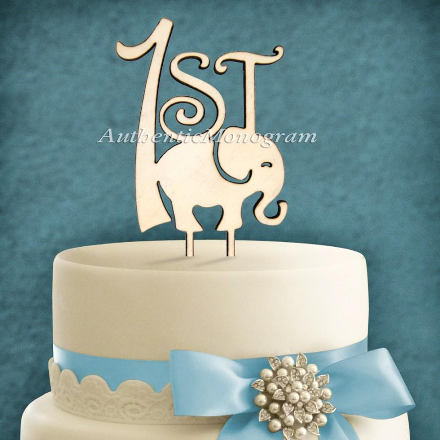"Mariage - 6inch Wooden PAINTED ""1st Birthday""  Elephant Cake Topper: Birthday, Nursery, Baby, Newborn, Celebration, Special Occasion 4113p"