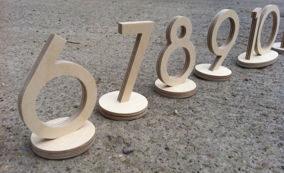 Mariage - Numbers in Sets of 10 (#11~20; #2130 etc 5inchH, Table Top UNPAINTED: Home Decor, Wedding Decor Planing, Anniversary, Party Monogram 1514