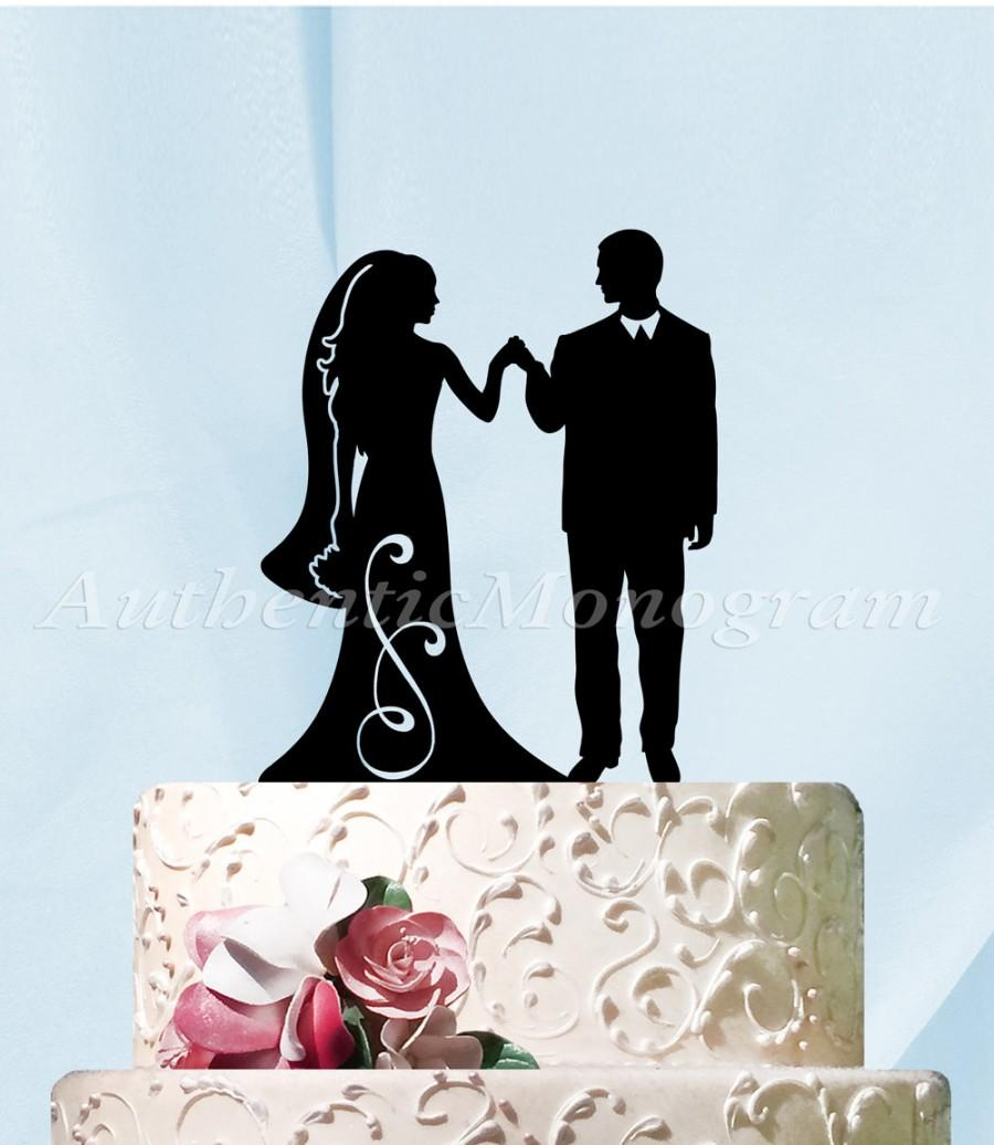 Mariage - Wedding Cake Topper -  Mr & Mrs Silhouette Wooden Cake Decoration - Decor - Unpoainted -  Painted - Rustic Wedding Cake topper.