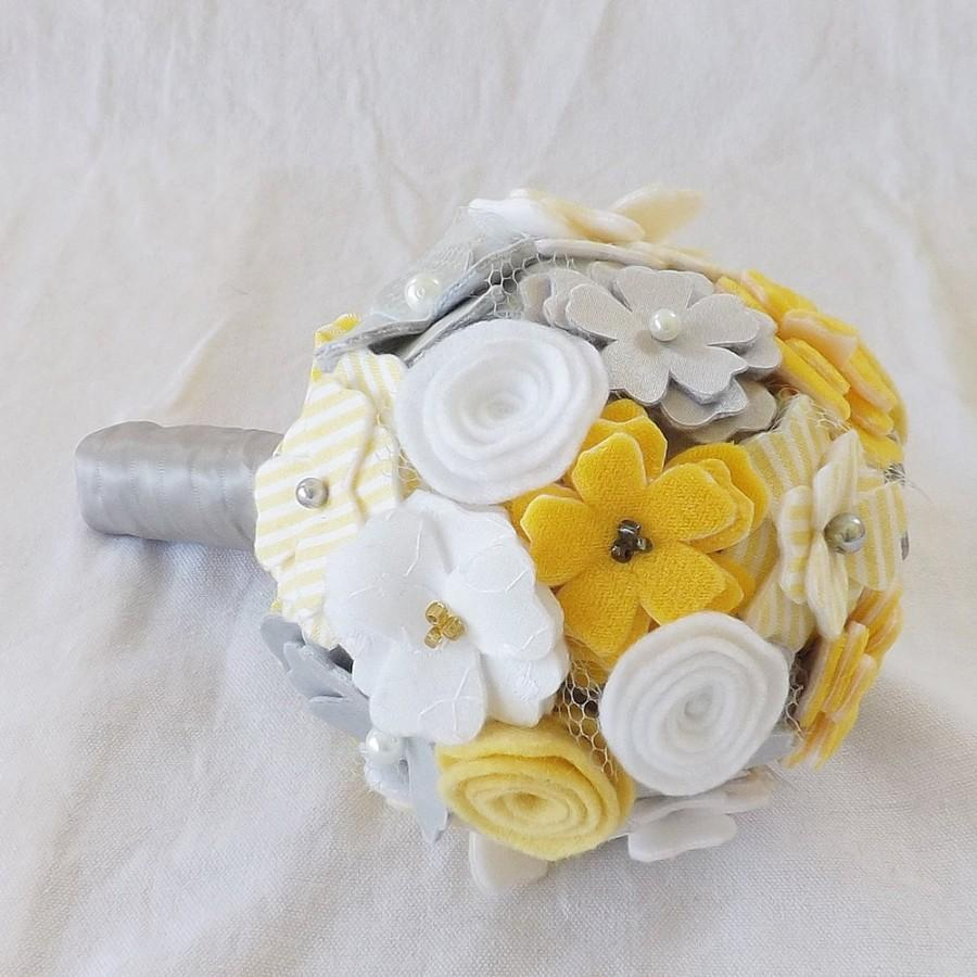 Wedding - Country Chic Bouquet in Yellow and Grey, small