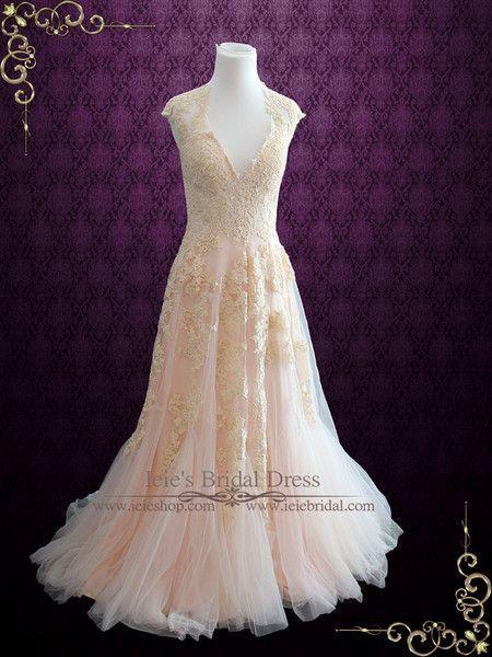 Hochzeit - Blush Pink Boho Beach Lace Wedding Dress With Plunging Neckline