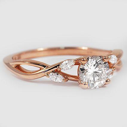 Wedding - 18K White Gold Willow Diamond Ring