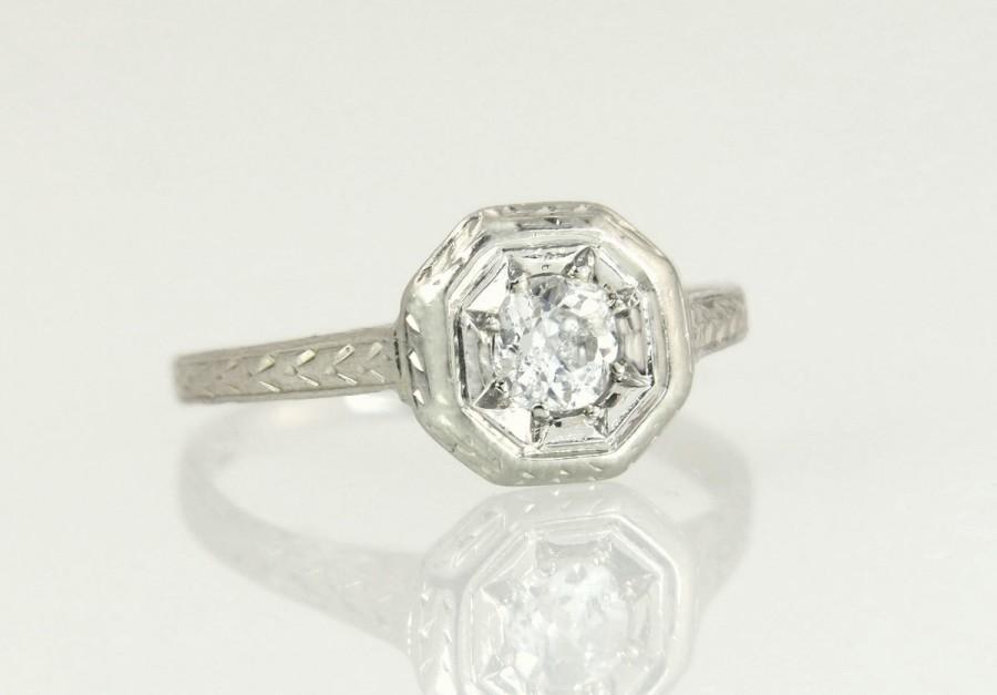 Wedding - Antique Vintage Estate .12ct Genuine Diamond 18K White Gold Art Deco Engagement Ring 2g