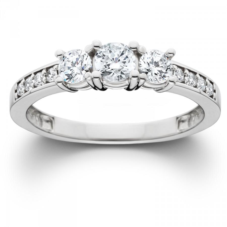 Wedding - 1.00CT 3 Stone Diamond Three Round Main Diamond Engagement Past Present Future Anniversary Ring Band 14K White Gold Karat Size 4-9