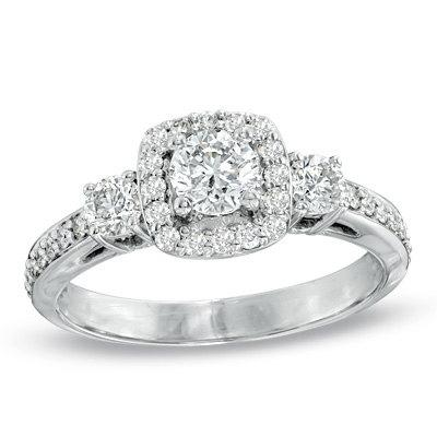 Wedding - Antique 1.30CT Diamond Cushion Halo Engagement Ring 14 Karat White Gold Vintage