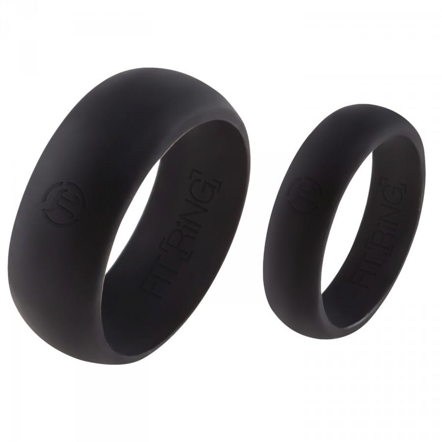 زفاف - His & Hers Fit Ring - Flexible Silicone Wedding Band - FREE SHIPPING - Rubber Ring - Men's Space Black + Women's Space Black - Perfect GIft