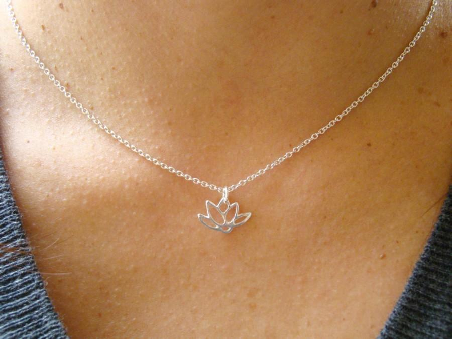 Wedding - Lotus Necklace, Lotus Charm Necklace, Spiritual Jewelry Gift Idea, Bridesmaid Gift, Yoga Jewelry, Meditation Jewelry, Sterling Silver
