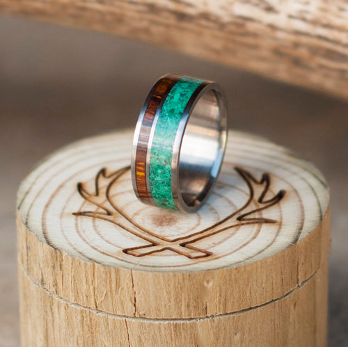 Boda - Mens Wedding Band Jade & Ironwood Ring - Staghead Designs