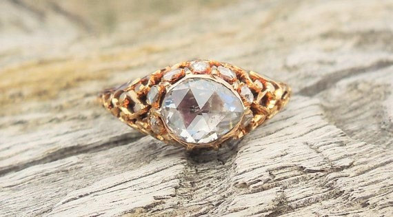 Boda - Georgian Ring 1.20ct Rose Cut Diamond Unique Engagement Ring Vintage Antique 15k Yellow Gold