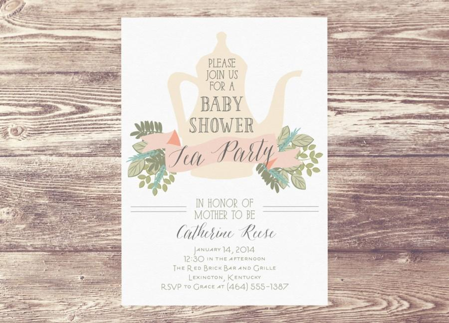 Printed baby shower tea party invitation custom personalized printed baby shower tea party invitation custom personalized sprinkle tea party shower bridal shower tea party invitation filmwisefo