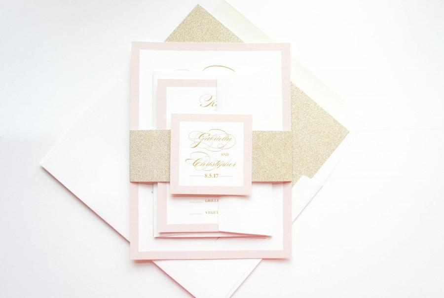 زفاف - Blush and Gold Wedding Invitations, Pink and Gold Wedding Invitation, Pink Wedding Invitation Set, Gold Glitter - SAMPLE SET