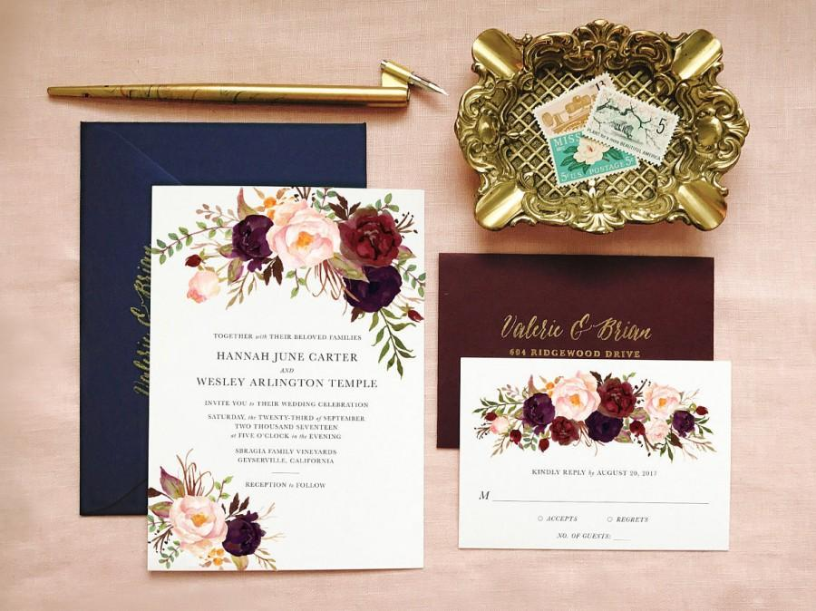 Wedding - Bohemian Wedding Invitation Suite, Boho Wedding Invite, Boho Chic Wedding Invitation, Invitation Suite Spring Summer, Floral, Marsala