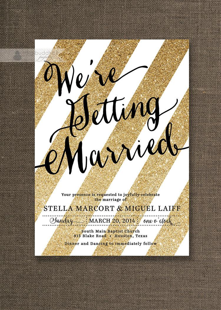 Wedding - Gold Glitter & Black Wedding Invitation Gold Stripes Modern Script Sparkle Gatsby Printable FREE PRIORITY SHIPPING or DiY Printable - Stella