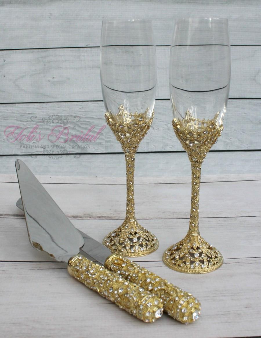 Swarovski Crystal Wedding Toast Set, Champagne Glasses, Weeding ...