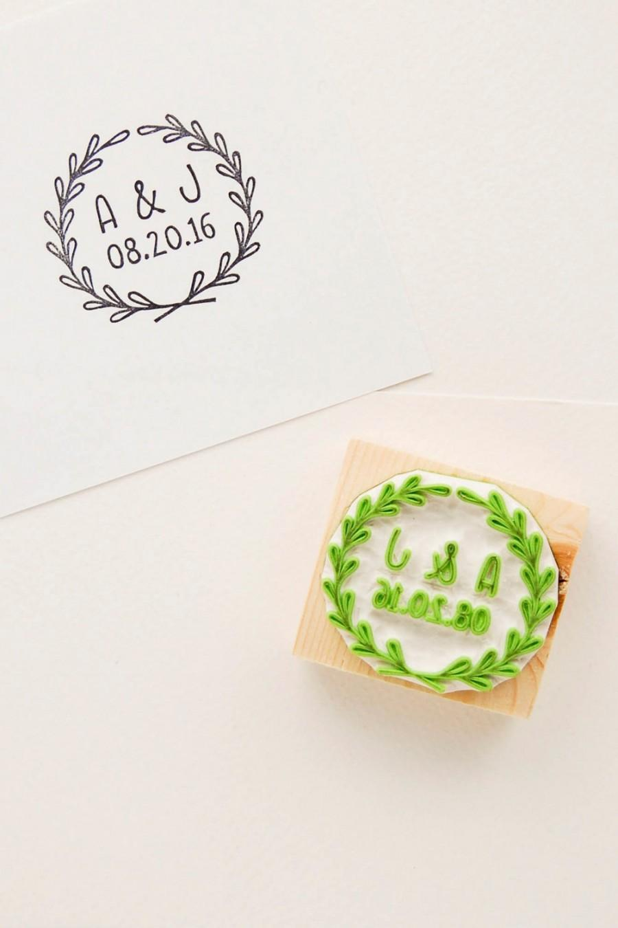 Wedding - Wedding rubber stamp, name initials stamp, custom rubber stamp, wedding wreath stamp, save the dates, date initials stamp