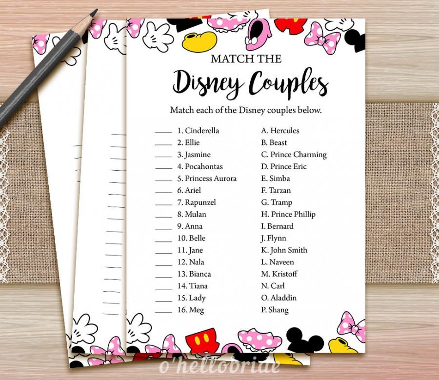 picture relating to Printable Games for Couples identify Disney Partners Video game Match - Printable Bridal Shower Appreciate