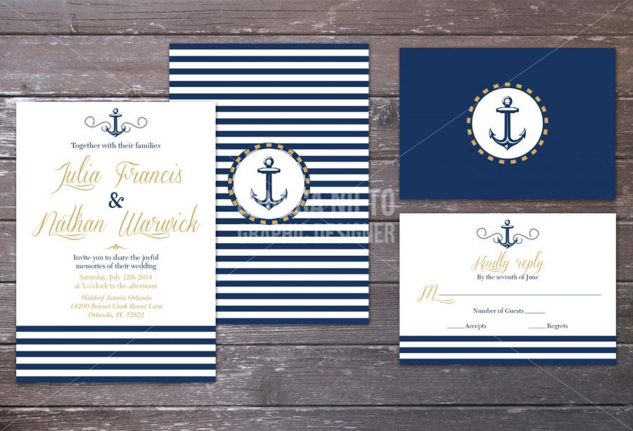 Boda - Printable Nautical Beach Wedding Invitation and RSVP/ Sea side wedding/ Navy Wedding/ Anchor invitation
