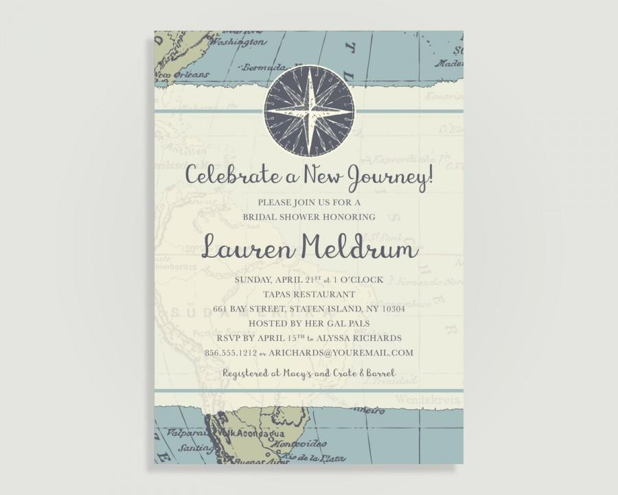 Wedding - Travel Bridal Shower Invitation - Map - Personalized Printable File or Print Package Available - New Journey #00013PF-PIA7