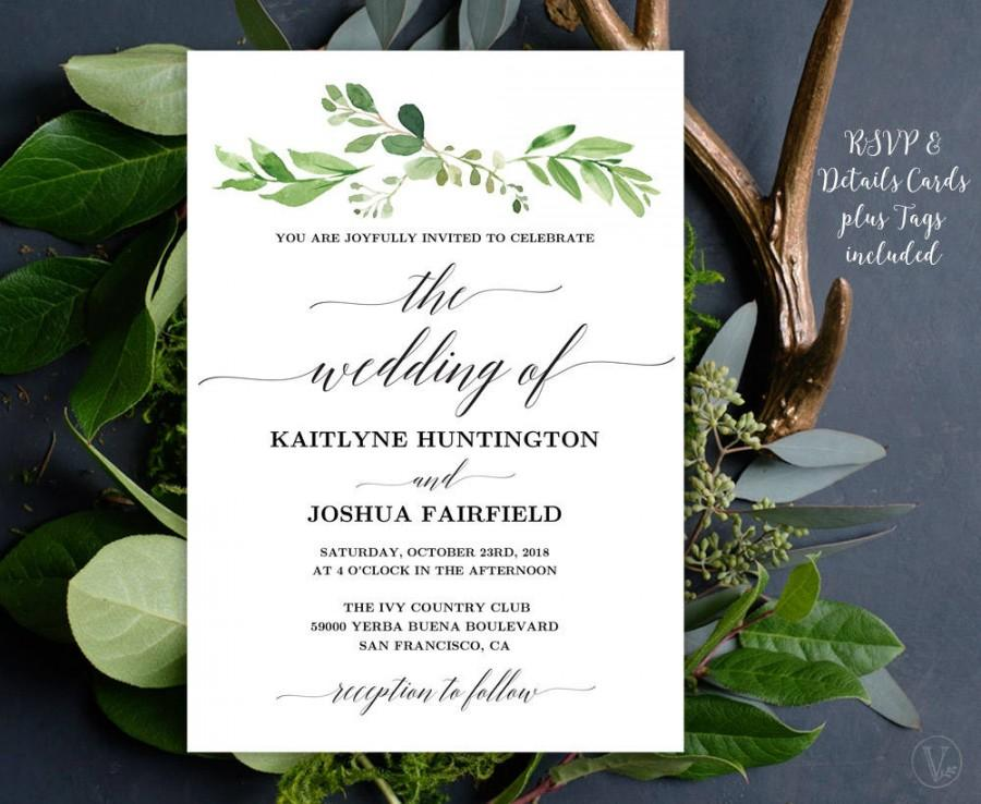 Wedding - Greenery Wedding  Invitation, Printable Garden Greenery Wedding Invitation Template, Editable Text, Instant Download, Garden Greenery