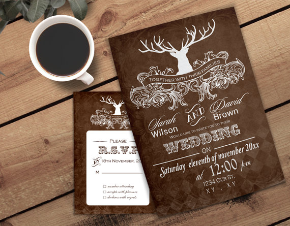 Wedding - PRINTABLE Wedding Invitation Template, Antler Wedding Invitations, Rustic Wedding Invitation Templates, Invitation Template, Winter Wedding