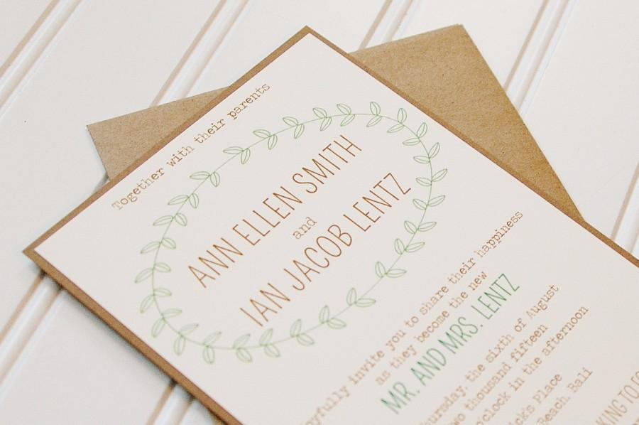 Wedding - Laurel Wedding Invitations: Simple Affordable Rustic Wedding Invitations- Kraft Paper. Rustic Wedding. Shabby Chic Wedding.