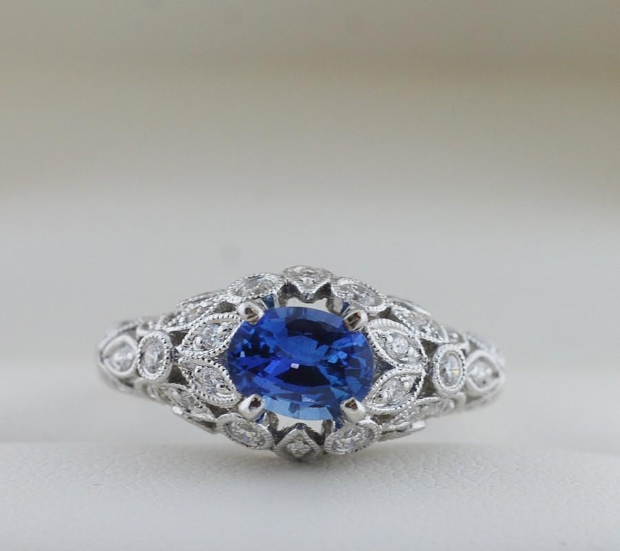 Wedding - Striking Blue Oval Ceylon Sapphire and Diamond Floral Ring in White Gold Size 6.5