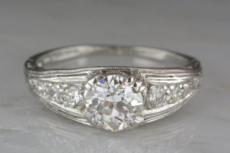 Wedding - Antique Edwardian / Art Deco / Pre Mid-Century 1.15ctw Platinum Engagement Ring with .90ct Old European Cut Diamond Center; OEC Accents R124