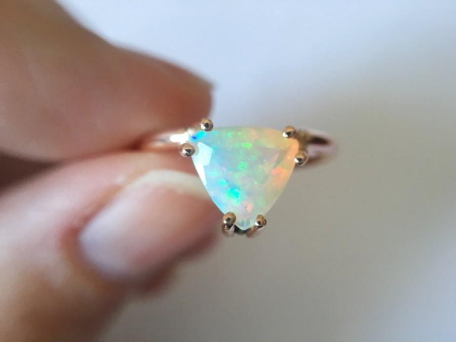 Wedding - Trillioin Faceted Ethiopian Opal Ring - 14k gold opal ring - faceted welo opal ring - opal engagement ring - triangle stone ring