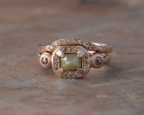 Wedding - Rose Cut Daimond Engagement Ring Set, Shadow Band, Green Diamond, 14k Rose Gold Cognac Diamond, One of A Kind Earth Concious Engagement Ring