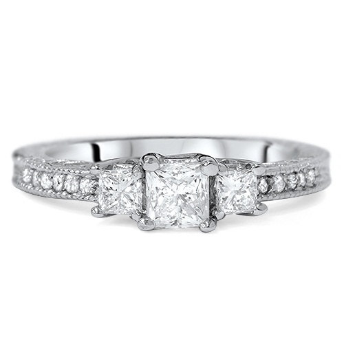 Wedding - Diamond 1.50CT Vintage Three Stone Princess Cut Engagement Ring 14K White Gold
