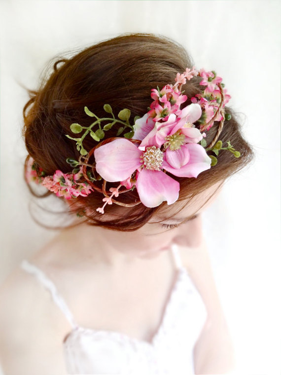 Düğün - pink flower crown, floral crown, dogwood flower, bridal headpiece, wedding headpiece, floral crown, pink flower headband, flower girl crown