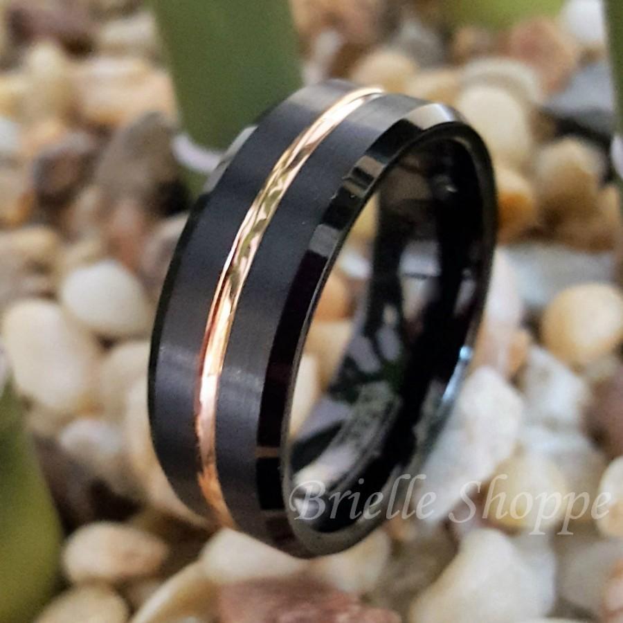 Wedding - Tungsten Ring, Men's Tungsten Wedding Band, Men's Black Wedding Band, Black Tungsten Ring, Tungsten, Tungsten Band, Personalized Engraving