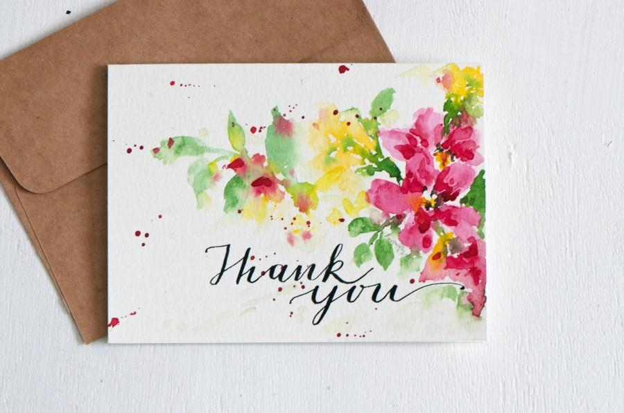 Boda - Hand lettered Wedding Thank You Card, thanks, thank you, thank you notes, Paper Goods, blank thank you, Floral thank you, thank you note