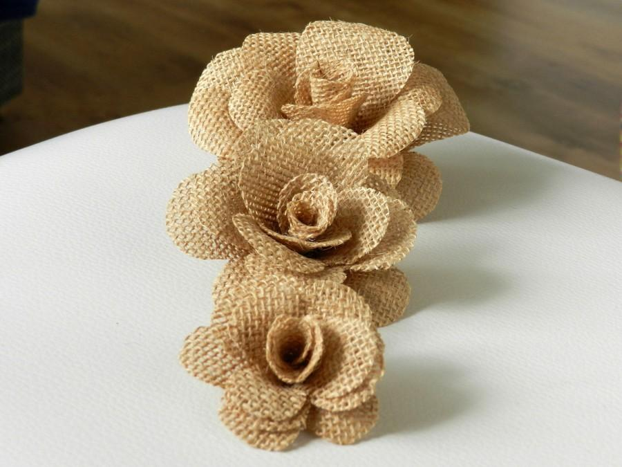 Свадьба - 3-size, Burlap Flower,Burlap Flowers,Vintage flowers,Rustic flowers,Burlap Cake Decor,Burlap Cake Flowers,Wedding Cake Flowers,Set of 3