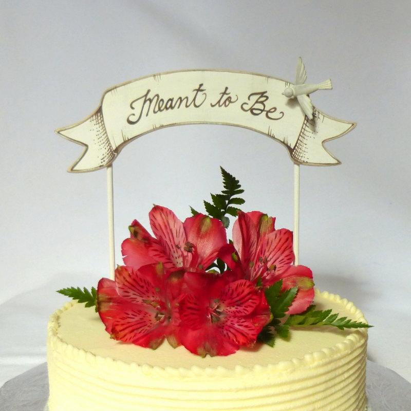 Hochzeit - Banner Wedding Cake Topper, Love Birds Banner Cake Topper, Baby Shower or Wedding, Hand Crafted