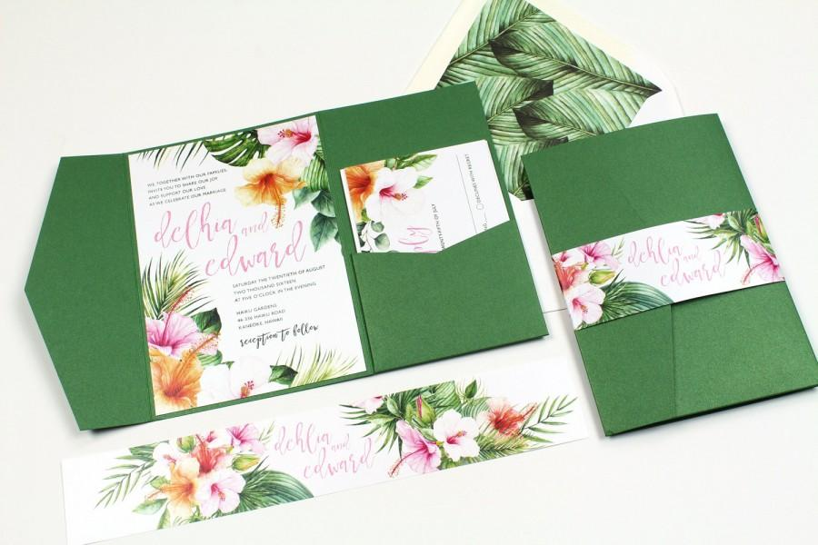 Boda - Hibiscus Wedding Invitation, Tropical Invitation, Destination Wedding Invitation, Palm leaves, watercolor, Hawaii Wedding -DEPOSIT