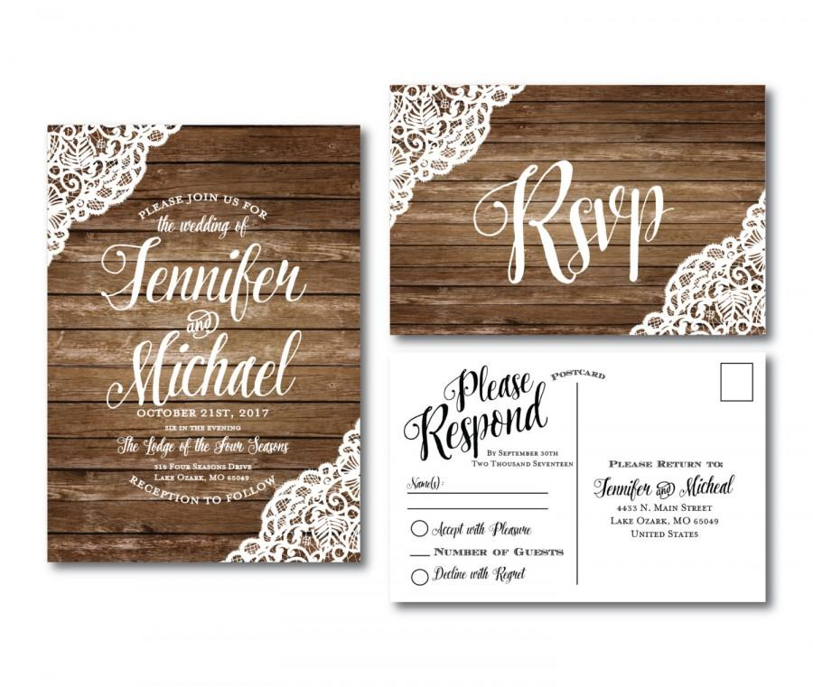 Boda - Rustic Wedding Invitation & RSVP Postcard Set - Country Chic - Rustic Lace - Fall Wedding - Rustic Lace Wedding - Printed Wedding Set #CL150