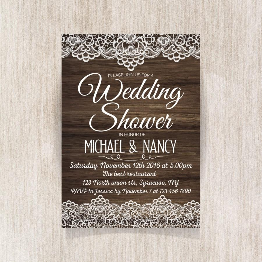 Wedding - Wedding Shower invitation, Rustic Wedding, Party Invitation with lace. Modern printable invitation. Wooden texture - 1601