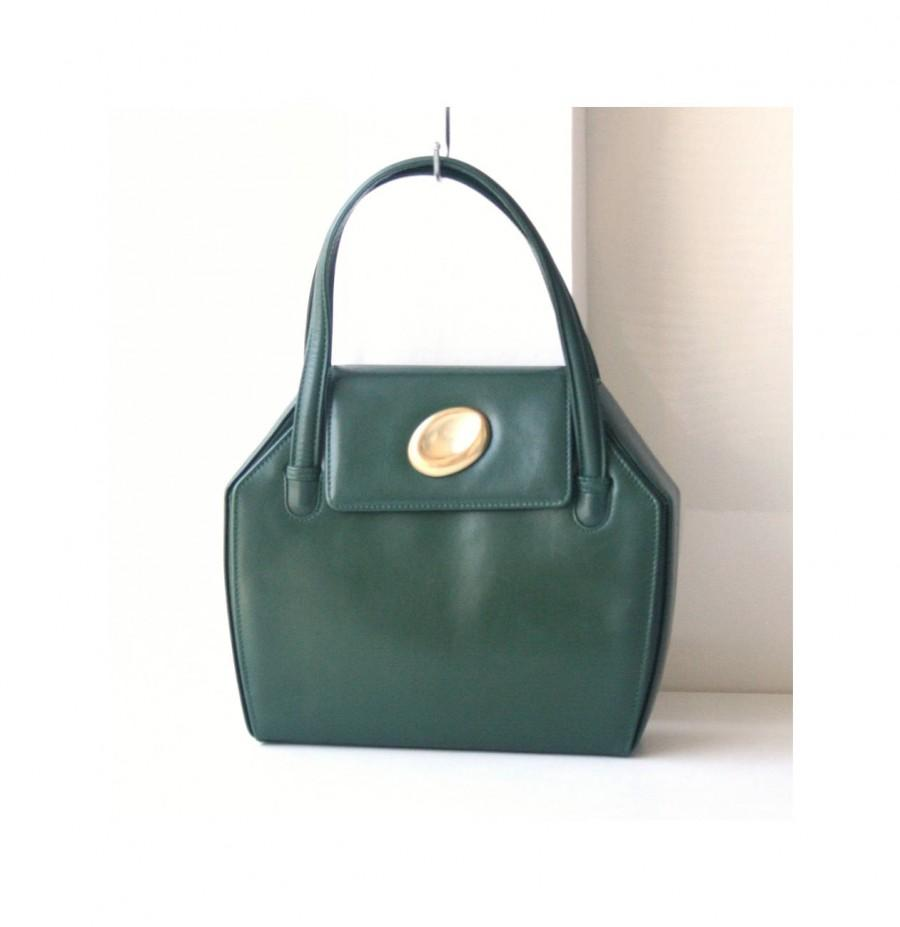 Wedding - Gucci Leather vintage tote authentic handbag dark green