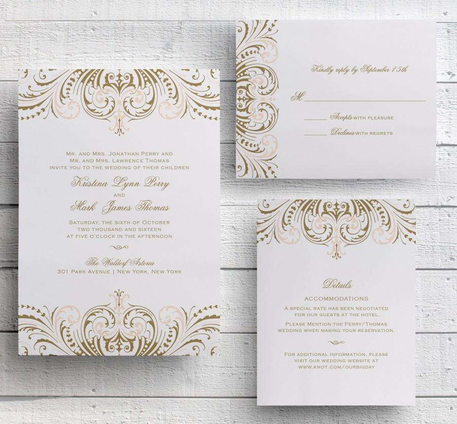 Blush Pink And Gold Invitations, DIY Wedding Invitation Suite, Great ...
