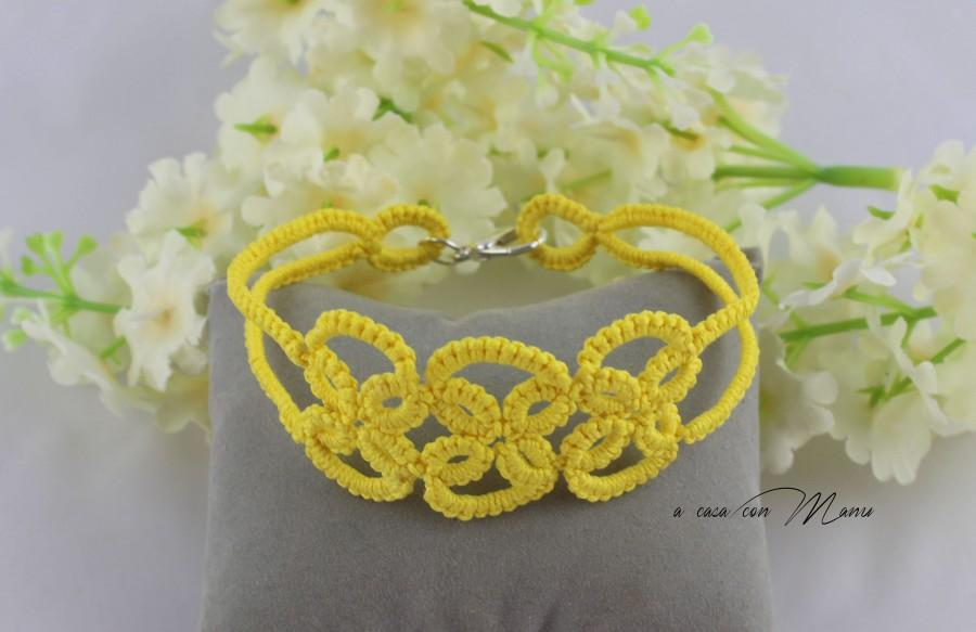 Düğün - Bracciale giallo, yellow Bracelet, bracciale in pizzo chiacchierino, tatting lace bracelet, summer fashion, moda estate, handmade in Italy