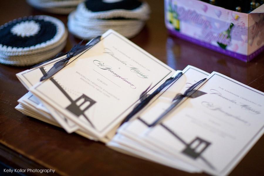 Wedding - Brooklyn Bridge Wedding Ceremony Programs with Ribbon Ties
